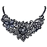 EVER FAITH Black-Tone Lace Flower Necklace Clear Austrian Crystal