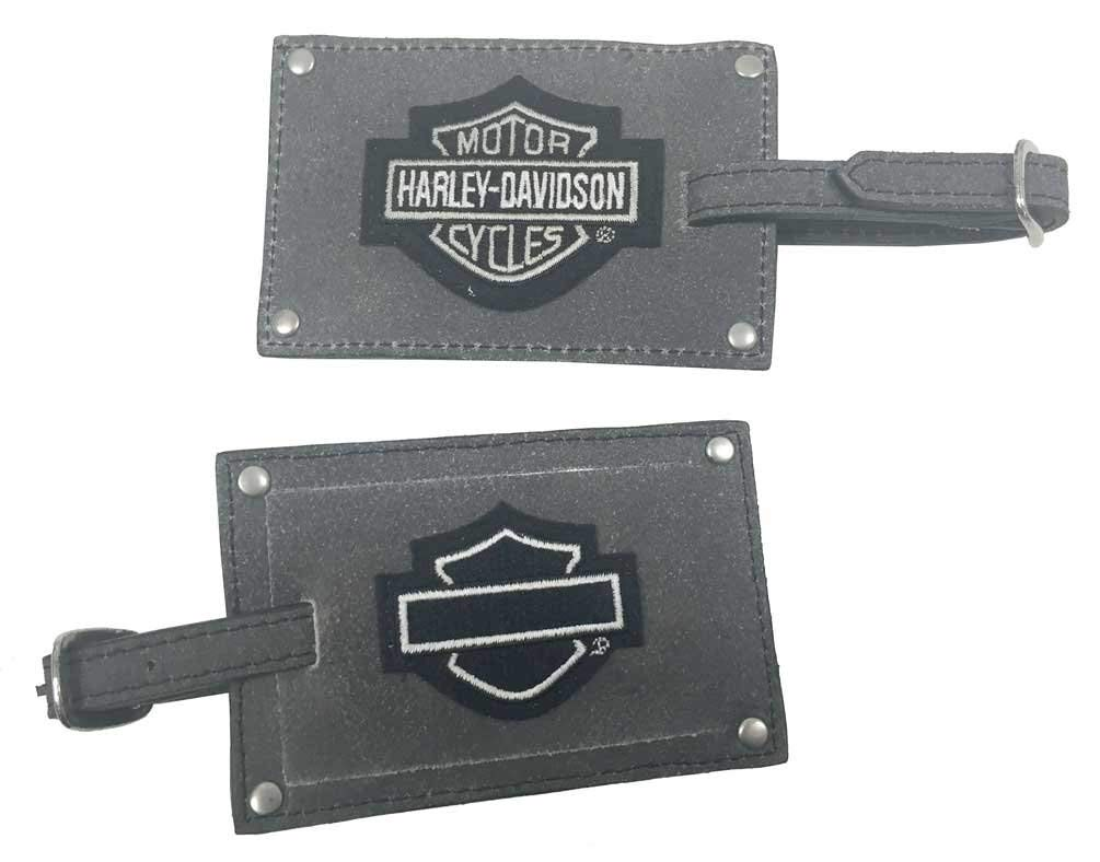 Harley-Davidson Bar & Shield Belted Luggage Tags, Gray Leather 99301-GRAY by HARLEY-DAVIDSON