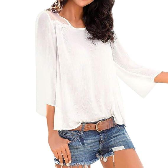Moda Camisas Mujer, 2018 Blusas para Mujer Vaquera Sexy Mezcla de algodón Tops Camisetas Mujer Ocasionales Manga Corta Blusas: Amazon.es: Ropa y accesorios