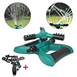 Lawn Sprinkler,FQMY Impact Sprinker, 2 Water Sprinklers 360 Degree Rotating Sprinkler Irrigation System, Garden Lawn Outdoor Automatic Sprinkler, Oscillating Rotary High Impact water Sprinkler