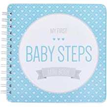 "NEW! Baby First Year Memory Mini Book for a Single Mom Family. Aqua Lagoon ""Modernista""(TM), Poly Cover. Intimate, travel size memory keeper record book and journal. 5x5"" - Best Shower Gift!"