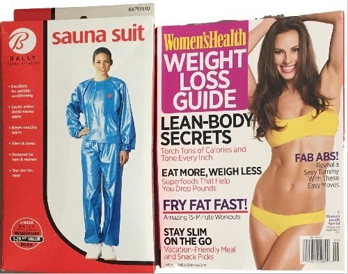 bally-total-fitness-one-size-blue-sauna-suit-with-womens-health-weight-loss-guide