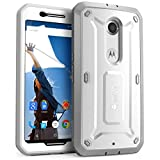 Nexus 6 Case, SUPCASE [Heavy Duty] Belt Clip Holster Case for Google Nexus 6 (2014 Release) [Unicorn Beetle PRO Series] Full-body Rugged Hybrid Protective Cover with Built-in Screen Protector (White/Gray), Dual Layer Design + Impact Resistant Bumper, Fit Motorola Nexus 6