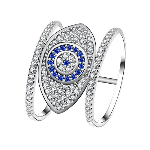 - Uloveido Blue Evil Eye Rings for Women - Cubic Zirconia White Gold Plated Female Ring with an Eye Jewelry Gifts for New Year Decorating Y325-6