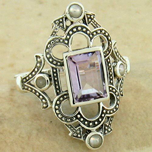 Genuine Brazilian Amethyst Pearl Victorian 925 Sterling Silver Ring Size 9 KN-1928