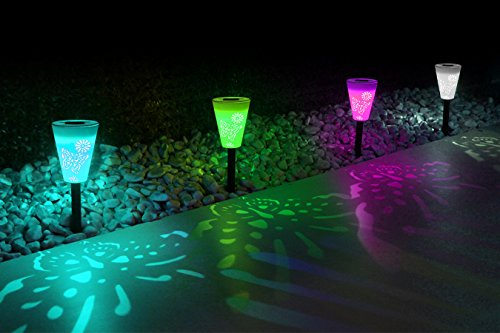 OxyLED Solar Path Light, Hollowed Butterfly Pattern Solar Garden Lights, LED Path Lighting Low Voltage, Waterproof Color Changing Pathway Solar Lights for Outdoor Lawn/Yard/ Walkway (3 Pack) by OxyLED (Image #1)