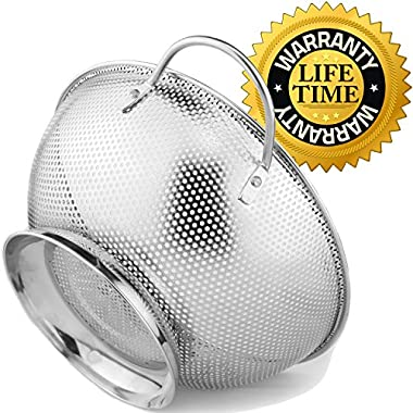 Colander Pro Stainless Steel Colander With Handles and Base, Professional Grade Large 5-Quart Strainer Is Perfect For Pasta, Rice, Noodles, Orzo And Fresh Fruits And Vegetables
