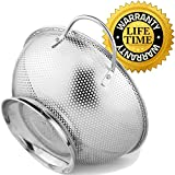 Colander Pro Stainless​ ​Steel​ 5-Quart​​​​ Colander:​ ​Metal​ ​Pasta​ ​Strainer with​ ​Handles​ ​&​ ​Base​ ​-​ ​Large​ ​Strainer​ ​Basket​ ​for​ ​Pasta,​ ​Rice Noodles & More: Dishwasher​​ Safe​