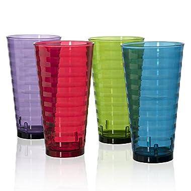 Splash Break-resistant Plastic 28oz Iced Tea Cup Tumblers - Set of 8 in 4 Assorted Colors