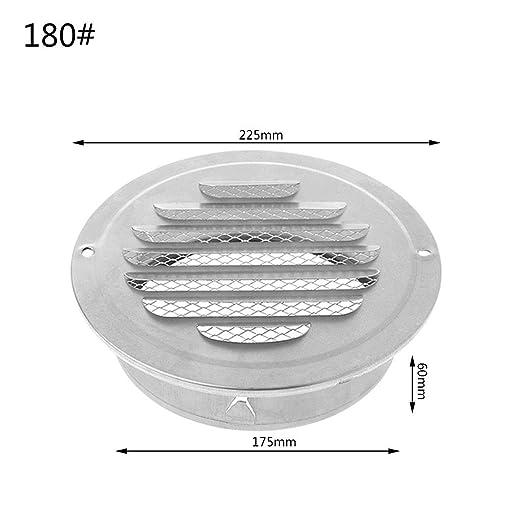 JOYKK Rejilla de ventilación de Aire de Pared Exterior de Acero Inoxidable Rejillas de ventilación Redondas - Plata - 180#