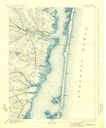 YellowMaps Barnegat NJ topo map, 1:62500 scale, 15 X 15 Minute, Historical, 1898, updated 1924, 20.1 x 16.7 IN - Tyvek (Manor Gate Gate Manor)