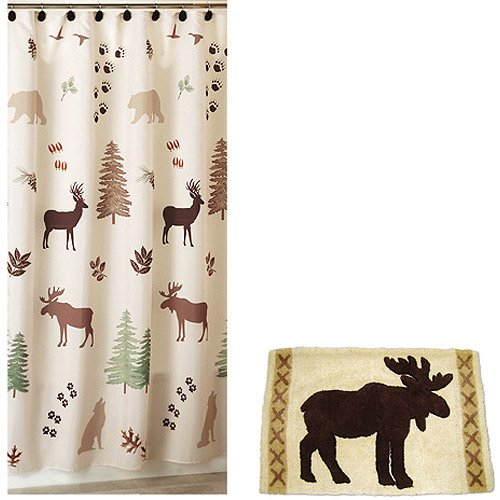 Amazon Brown Green Bear Deer Lodge Cabin Rustic Fabric Shower Curtain And Hooks Home Kitchen