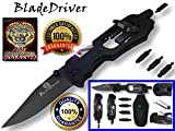 BladeDriver Multitool Flashlight Screwdriver Knife UPGRADED #1 BEST Multi-Tool Holtzman's (Black)