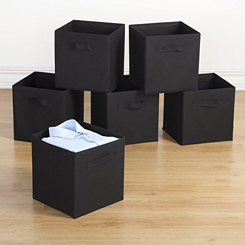 Housen Solutions Storage Bins - Collapsible Storage Cube Organizer, Nonwoven Basket Container Fabric Drawers Set of 6, Black 10.5
