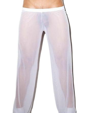 7fbe0661085 Jaycargogo Men Mesh See Through Home Lounge Sheer Pants Nightwear ...