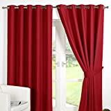 Dreamscene Luxury Ring Top Fully Lined Pair Thermal Blackout Eyelet Curtain Red 46 x 54 by Dreamscene