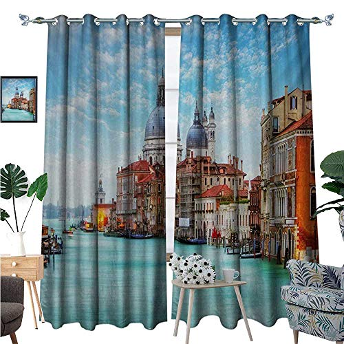 dow Curtain Grand Canal and Basilica Santa Maria Della Salute Historical Architecture Blackout Draperies for Bedroom W96 x L108 Blue Turquoise Orange ()