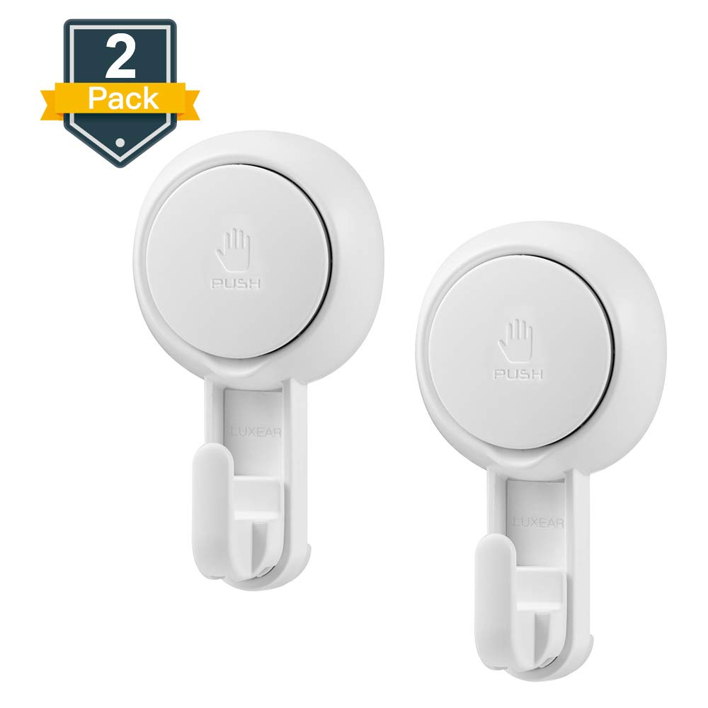 LUXEAR Suction Hooks Powerful Vacuum Suction Cup Hooks- Heavy Duty Shower Hooks Organizer for Bathroom Kitchen Towel, Robe, Loofah(2 Pack)