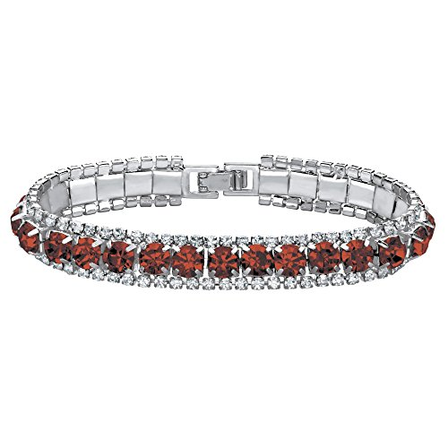 (Palm Beach Jewelry Silvertone Simulated Birthstone and Crystal Tennis Bracelet 7
