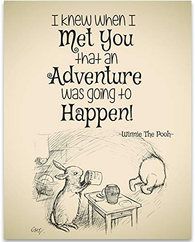 I Knew When I Met You An Adventure Was Going to Happen - Winnie The Pooh - 11x14 Unframed Art Print - Great Child/Boy/Girl/Nursery Room Decor by Personalized Signs by Lone Star Art