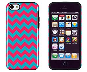 Sunshine Case 2in1 Hybrid High Impact Hard Aqua & Pink Chevron Pattern + Silicone Case Cover For Apple iPhone 5C + Sunshine Case Screen Cleaner