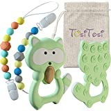 TosiTosi Baby Infant Raccoon Teething Chew Toy and 2 Pacifier Clips Set BPAFree Food Grade Silicone Teether - Unisex Durable Holder Clips with Colorful Beads - Storage Bag Included