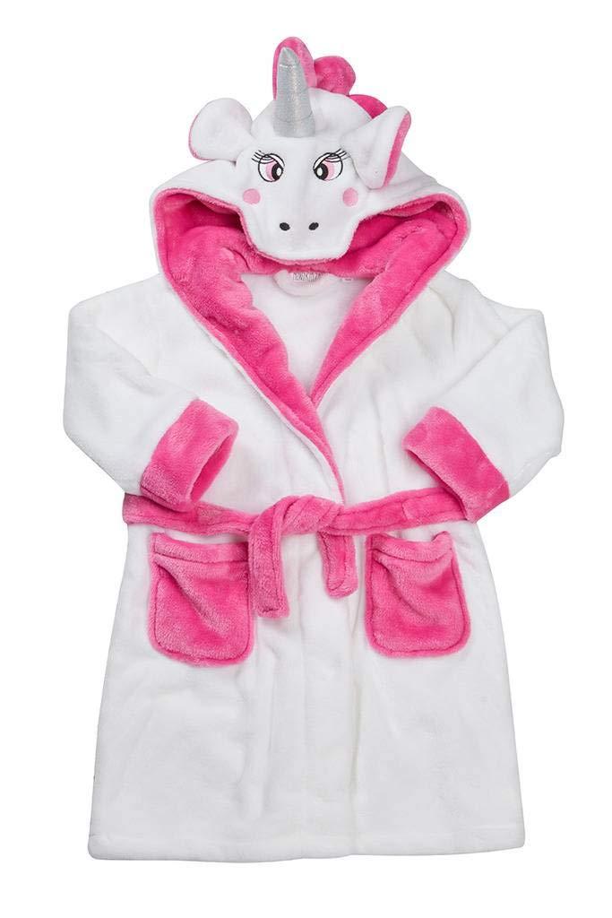 Girls Dressing Gown 100% Luxury Flannel Fleece Kids Christmas Unicorn Robe Pink Aqua White Size 2 3 4 5 6 7 8 9 10 11 12 and 13 Years