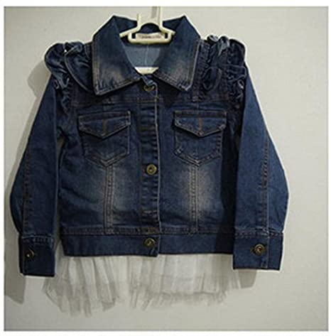 Gaorui Girl Flower Blue Denim Coat Outwear Denim Jacket Girl Kids Lace Cowboy Jacket