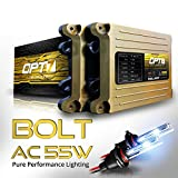 OPT7 Bolt AC 55w HID Kit - 5x Brighter - 6x Longer Life - All Bulb Sizes and Colors - 2 Yr Warranty - 9012 [6000K Lightning Blue Xenon Light]