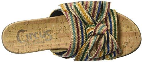 Sam Edelman Women's Ninette Slide Sandal, Black Multi Stripe Burlap