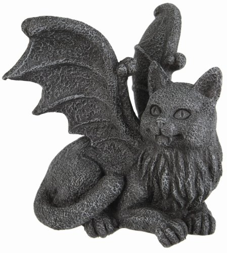 Winged Cat Gargoyle Computer Topper Shelf Sitter Statue - Halloween Cat