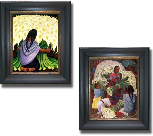 Artistic Home Gallery The Flower Seller Flower Vendor by Diego Rivera 2-pc Premium Black Gold Framed Canvas Set Ready-to-Hang