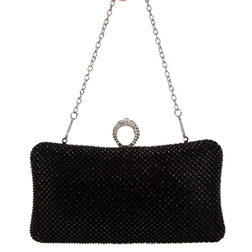 Rhinestone Black Ring Bling Bag Pure Purse Women Bonjanvye Clutch Evening For qYz6wS