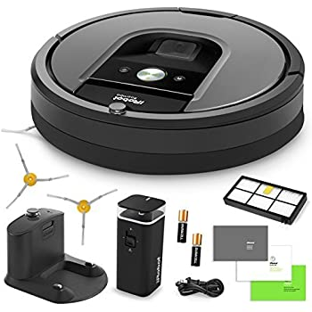 iRobot Roomba 960 Vacuum Cleaning Robot + Dual Mode Virtual Wall Barrier (With Batteries) + Extra High Efficiency Filter + Extra Sidebrush + More