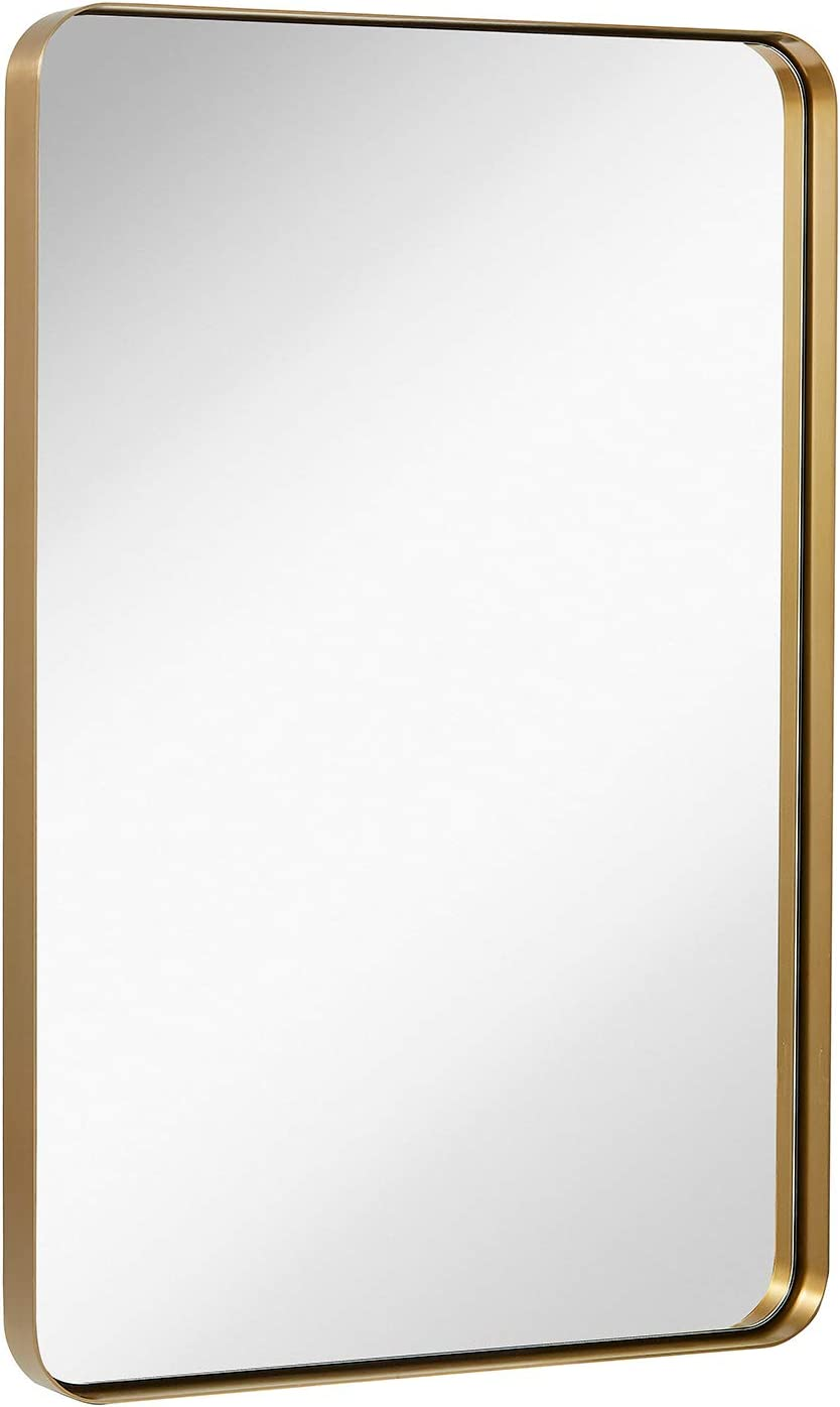 "Hamilton Hills Contemporary Brushed Metal Wall Mirror | Glass Panel Gold Framed Rounded Corner Deep Set Design | Mirrored Rectangle Hangs Horizontal or Vertical (24"" x 36"")"