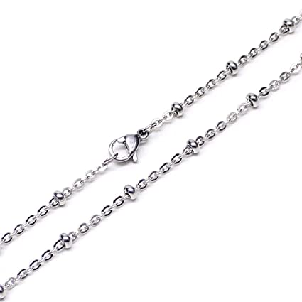 Wholesale 12 PCS Stainless Steel Beaded Chain Satellite Chains Necklace  Bulk for Jewelry Making 18- 42c921e807aa