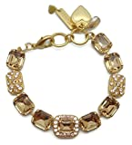 Mariana Swarovski Crystal Goldtone Bracelet Light Colorado Brown Rectangle with Silk Mosaic 39132 Jackie