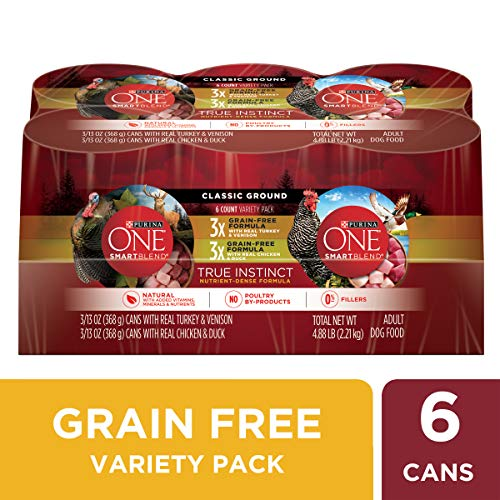 Purina ONE Grain Free, Natural Pate Wet Dog Food Variety Pack; SmartBlend True Instinct - (6) 13 oz. Cans