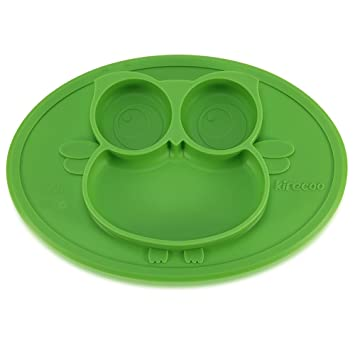 Kirecoo Baby Placemat Owl Round Silicone Suction Plates for Children Kids ToddlersKitchen  sc 1 st  Amazon.com & Amazon.com : Kirecoo Baby Placemat Owl Round Silicone Suction Plates ...