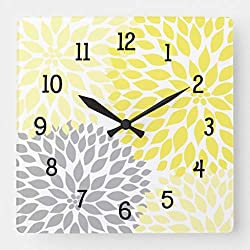 FRTKUU Modern Dahlia Flowers Yellow and Gray Grey Square Decorative Wooden Wall Clock - 12 Inch