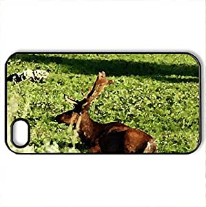At Rest - Case Cover for iPhone 4 and 4s (Deer Series, Watercolor style, Black)