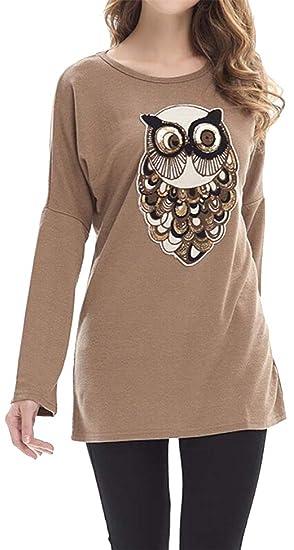 36176d702f3242 Fensajomon Women's Baggy Glitter Sequins Knit Crewneck Owl Long Sleeve  Blouse T-Shirt Top at Amazon Women's Clothing store: