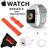 6Ave Apple Watch Series 3 38mm Smartwatch (GPS Only, Silver Aluminum Case, Fog Sport Band) MQKU2LL/A + WATCH BAND RED 38mm + MicroFiber Cloth Bundle