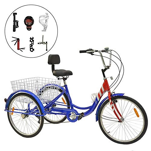 H&ZT Adult Tricycle Trike 7 Speed 3 Wheel Bike with Large Basket and Maintenance Tools, 24 Inch Wheel Size Bike Trike, Men's Women's Cruiser Bike (Flag, 7 Speed)