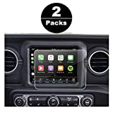 2018 Jeep Wrangler JL Media Center Uconnect Touch Screen Protector, R RUIYA HD Clear Tempered Glass Protective Film Against Scratch High Clarity (8.4-Inch X2)