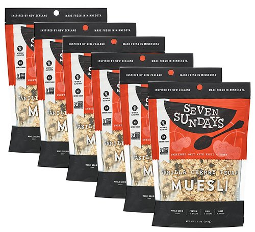 Seven Sundays Gluten Free Muesli - Vanilla Cherry Pecan {12 oz. pouches, 6 Count} - Non-GMO Certified, Hot or Cold Breakfast - Pecan Cherry