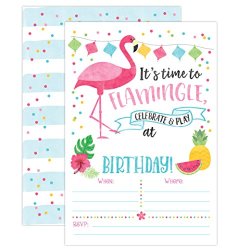 Your Main Event Prints Flamingo Birthday Invitations, Flamingle Birthday Invites, Luau Summer Party, 20 Fill In Flamingo Party Invitations With Envelopes