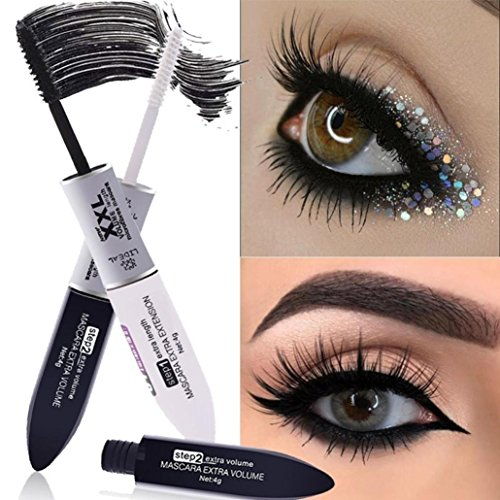 (LiPing 2 IN 1 Mascara Silk Fiber Volume Double Lengthening Volume Mascara, Waterproof & Long Lasting,Easy to Apply for Thickening & Lengthening)