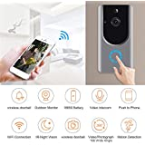Video Doorbell Wireless Doorbell WiFi Smart Door Bells 720P HD Home Security Camera Battery, Real-Time Video Two-Way Talk, Night Vision, PIR Motion Detection