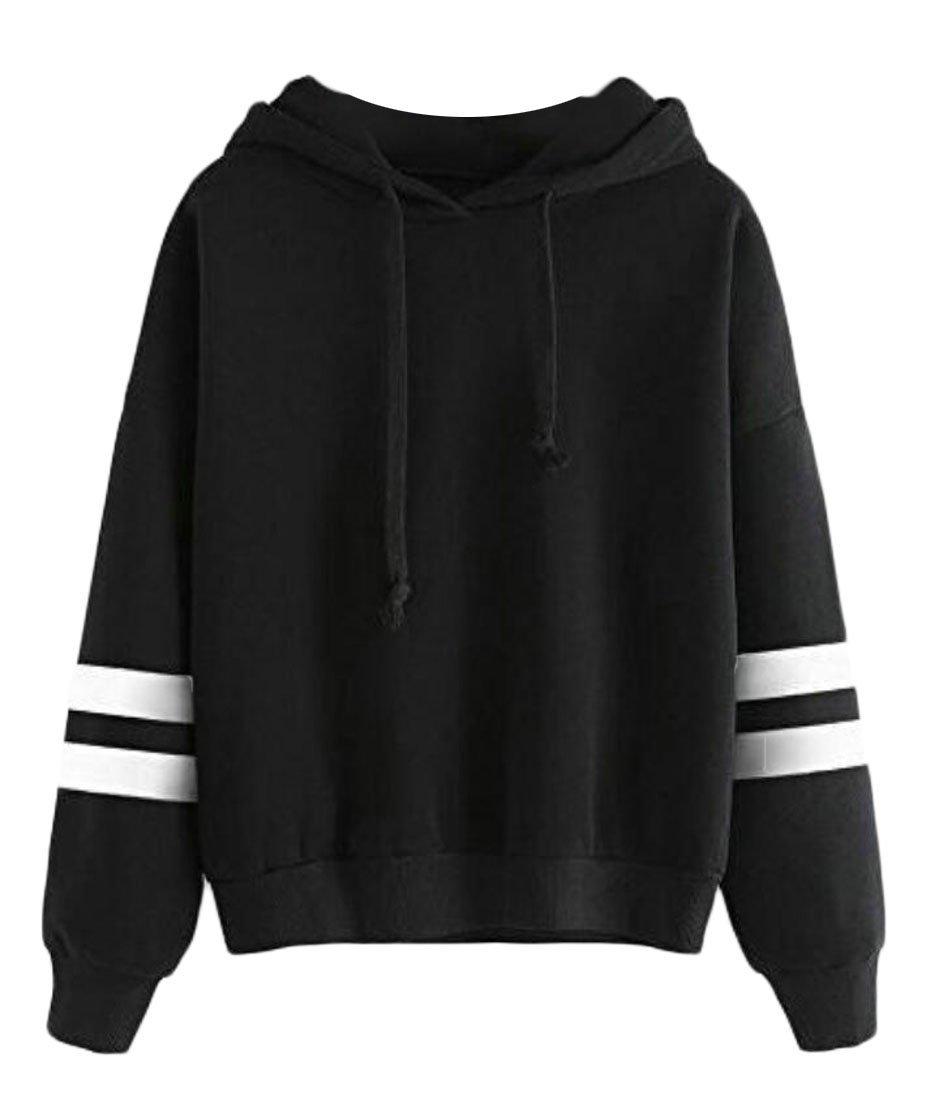Hurrg Womens Long Sleeve Simple Style Hoodies Sweatshirt Jumper Hooded Pullover Black 2XL